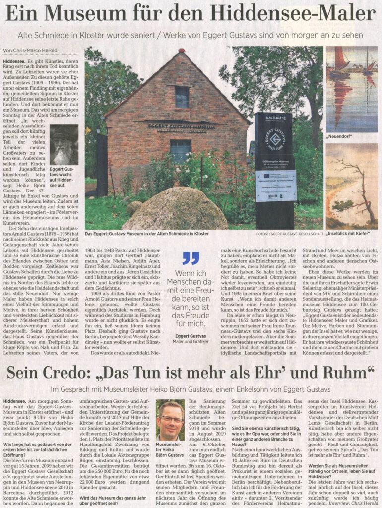 Ostseezeitung 05. Oktober 2019
