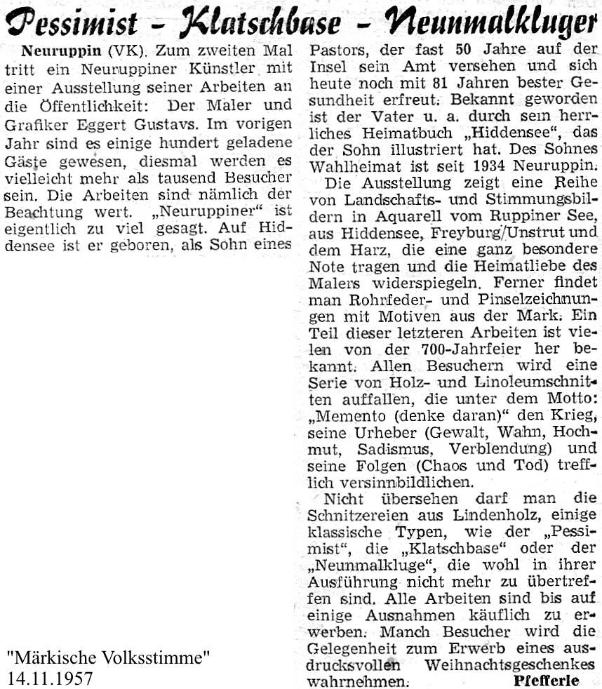Märkische Volksstimme 14. November 1957